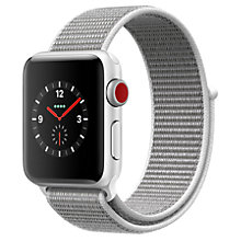Buy Apple Watch Series 3, GPS and Cellular, 38mm Silver Aluminium Case with Sport Loop, Seashell Online at johnlewis.com