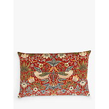 Buy Morris & Co Strawberry Thief Velvet Cushion, Red Online at johnlewis.com