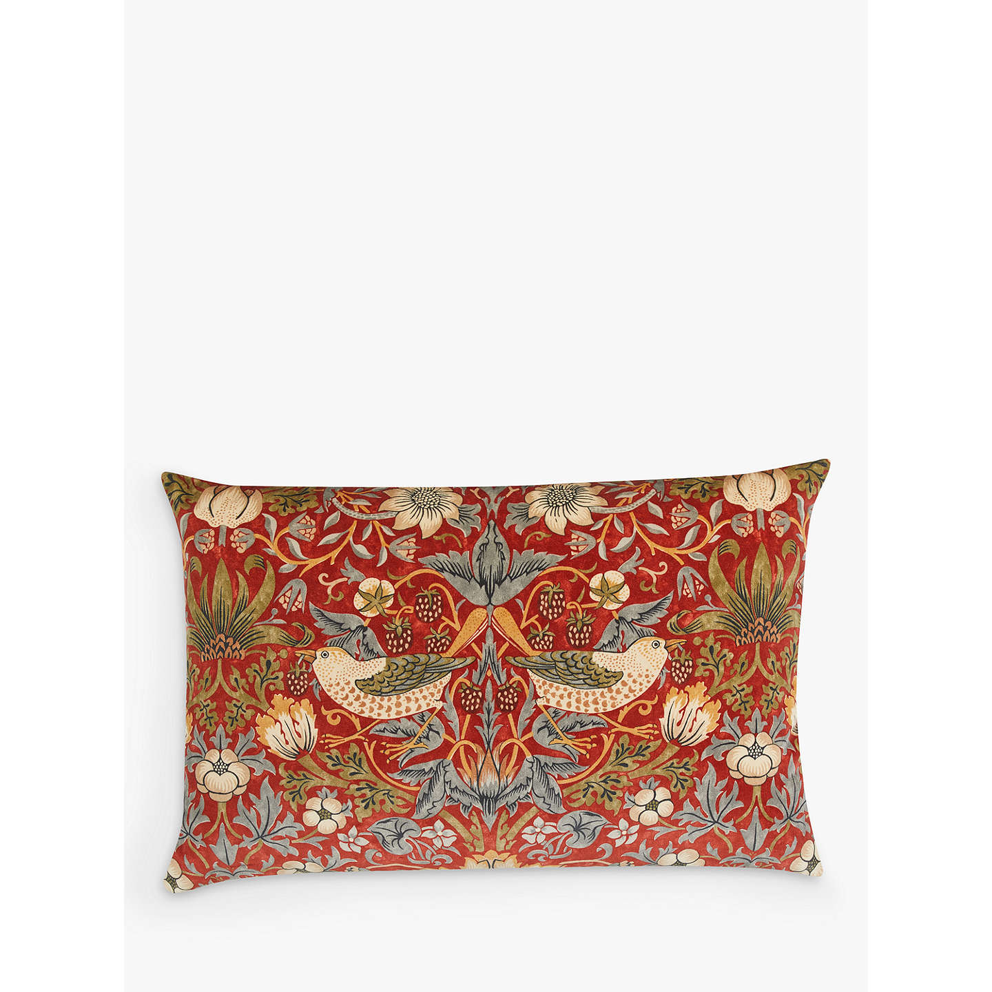BuyMorris & Co. Strawberry Thief Velvet Cushion, Red Online at johnlewis.com