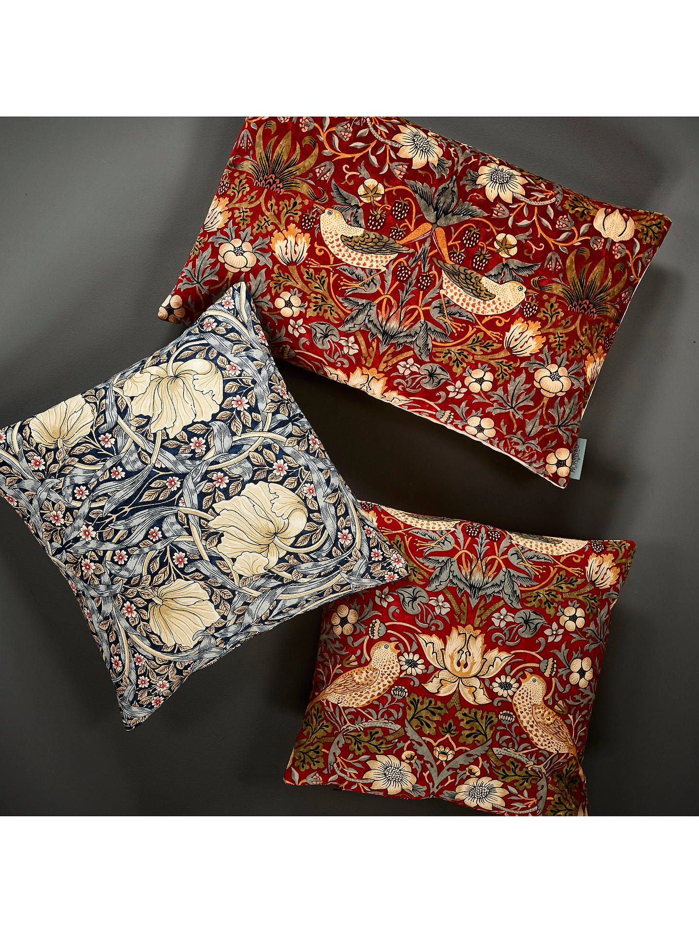 Buy Morris & Co. Strawberry Thief Velvet Cushion, Red Online at johnlewis.com