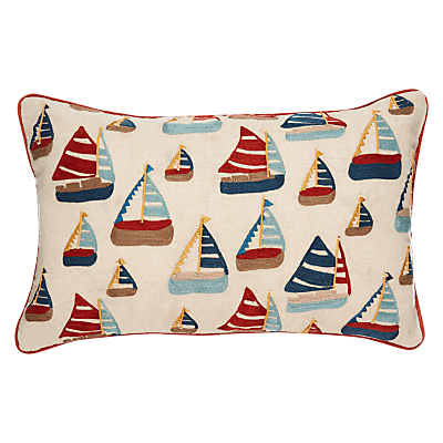 John Lewis Embroidered Sail Boats Cushion, Red / Navy