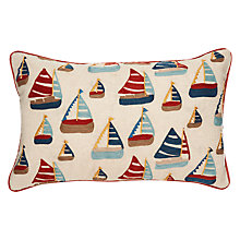 Buy John Lewis Embroidered Sail Boats Cushion, Red / Navy Online at johnlewis.com