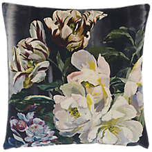 Buy Designers Guild Delft Flower Cushion, Noir Online at johnlewis.com