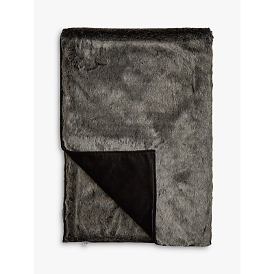 Helene Berman Faux Fur Throw, Charcoal Frost