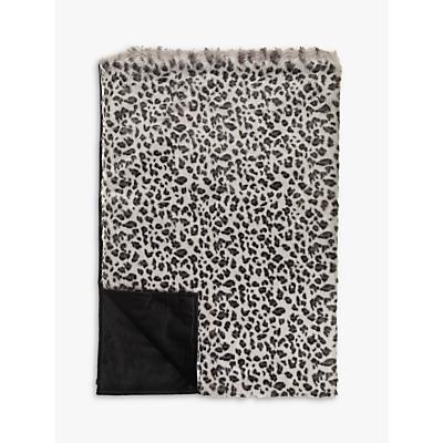 Helene Berman Grey Leopard Faux Fur Throw