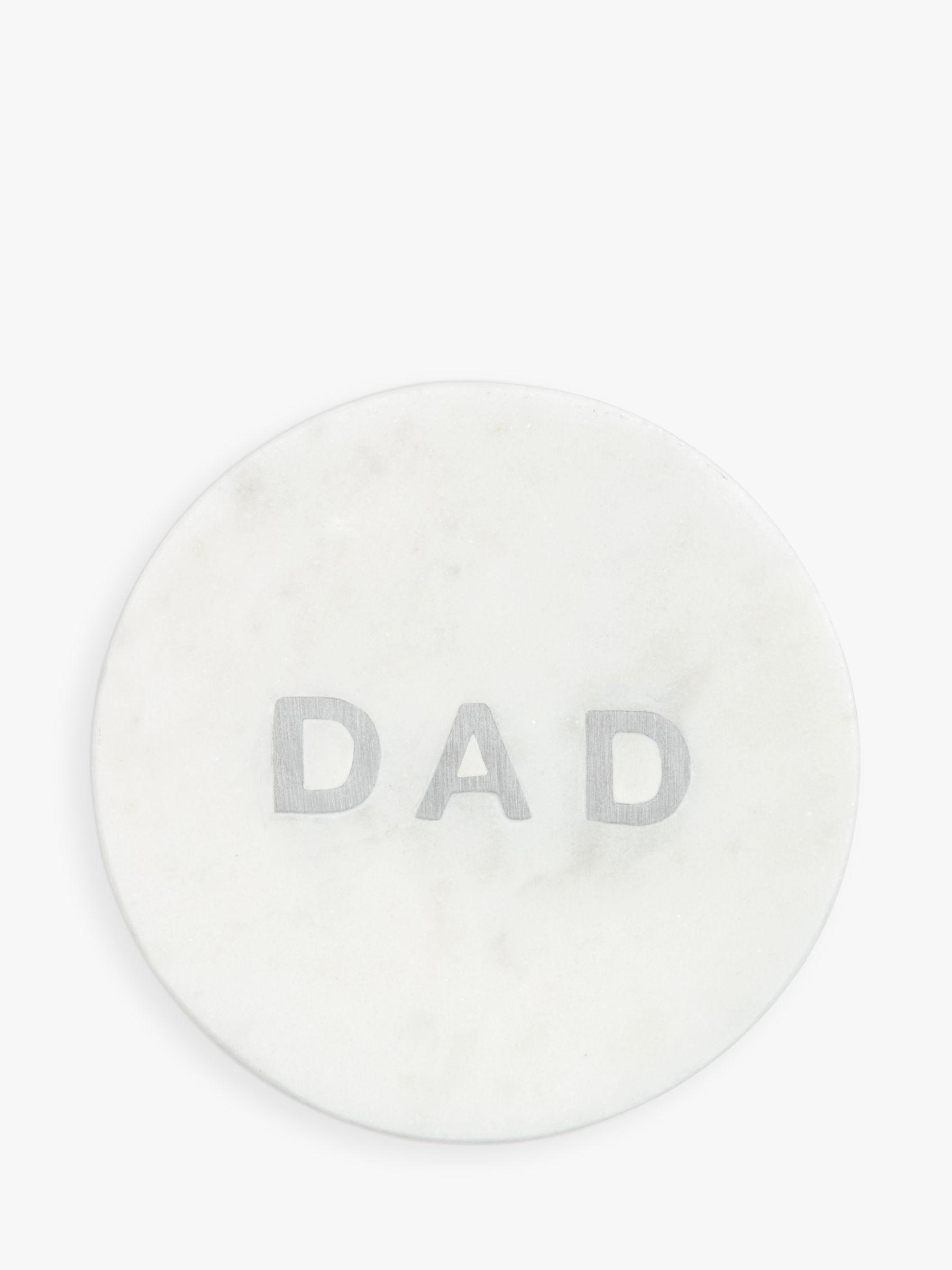 John Lewis & Partners 'Dad' Marble Coaster, White/Silver