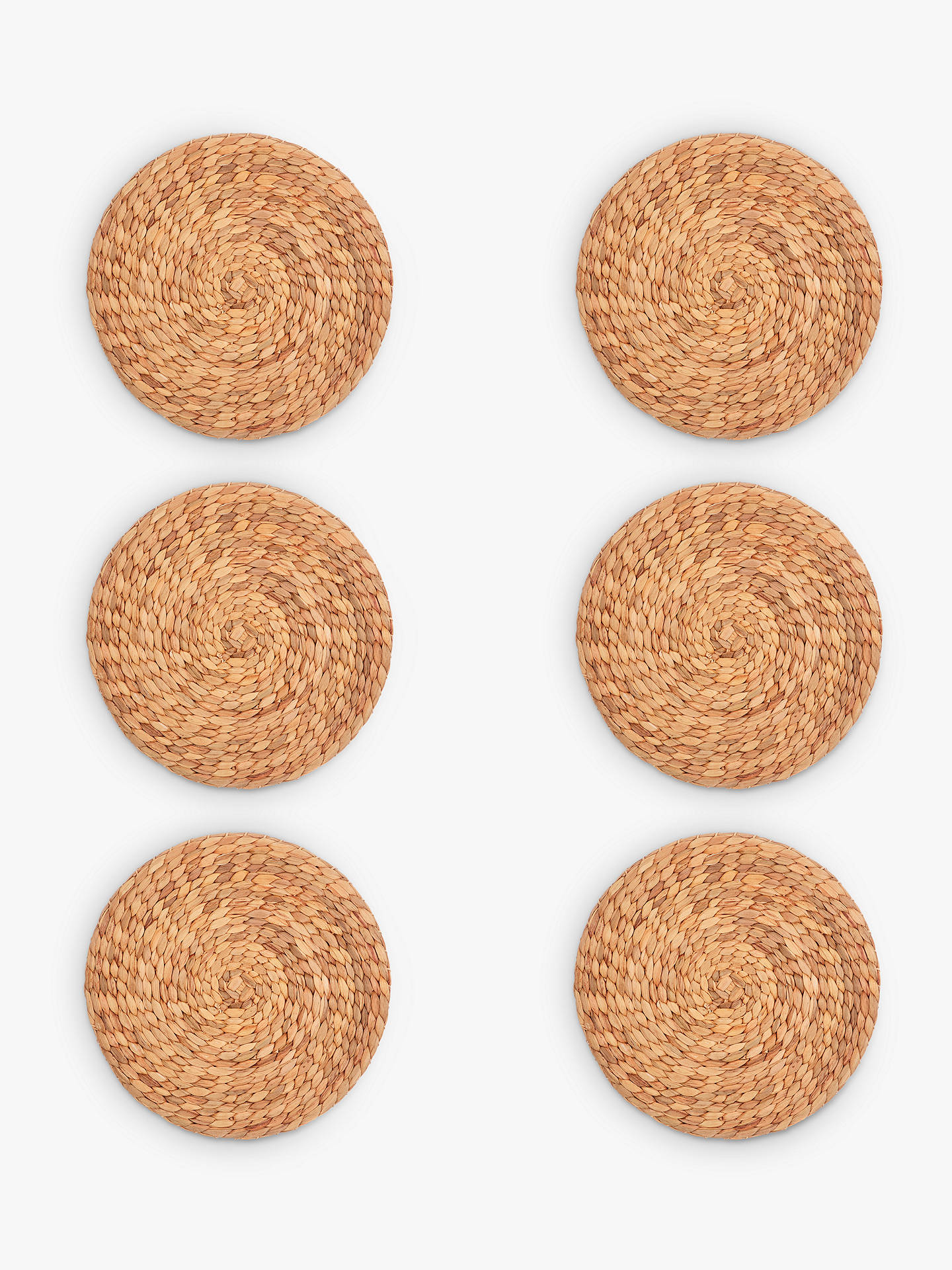 Buy John Lewis & Partners Water Hyacinth Round Placemats, Natural, Set of 6 Online at johnlewis.com