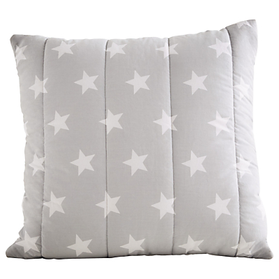 Great Little Trading Co Quilted Cushion, Grey Star