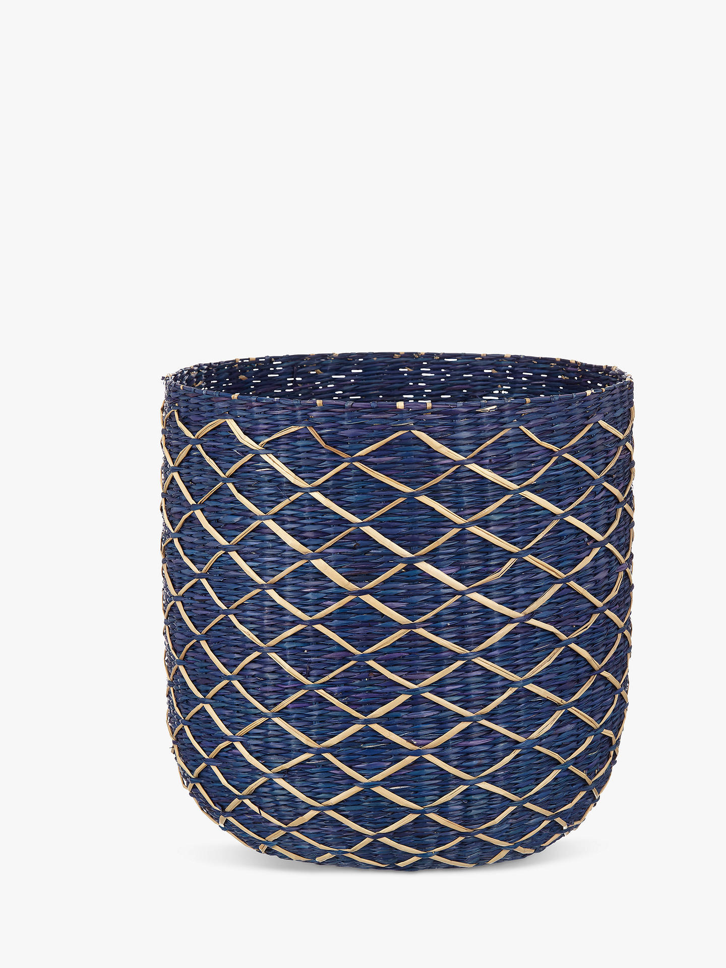 Buy John Lewis & Partners Fusion Blue Weave Waste Paper Bin, Blue Cobalt Online at johnlewis.com