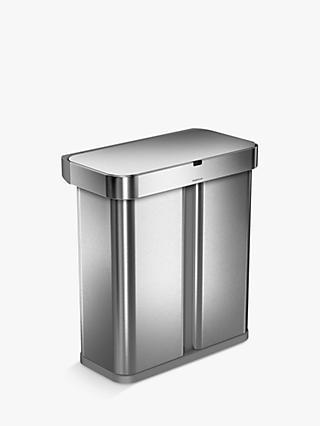 Simplehuman Voice Activated Dual Compartment Recycler Sensor Bin 58l