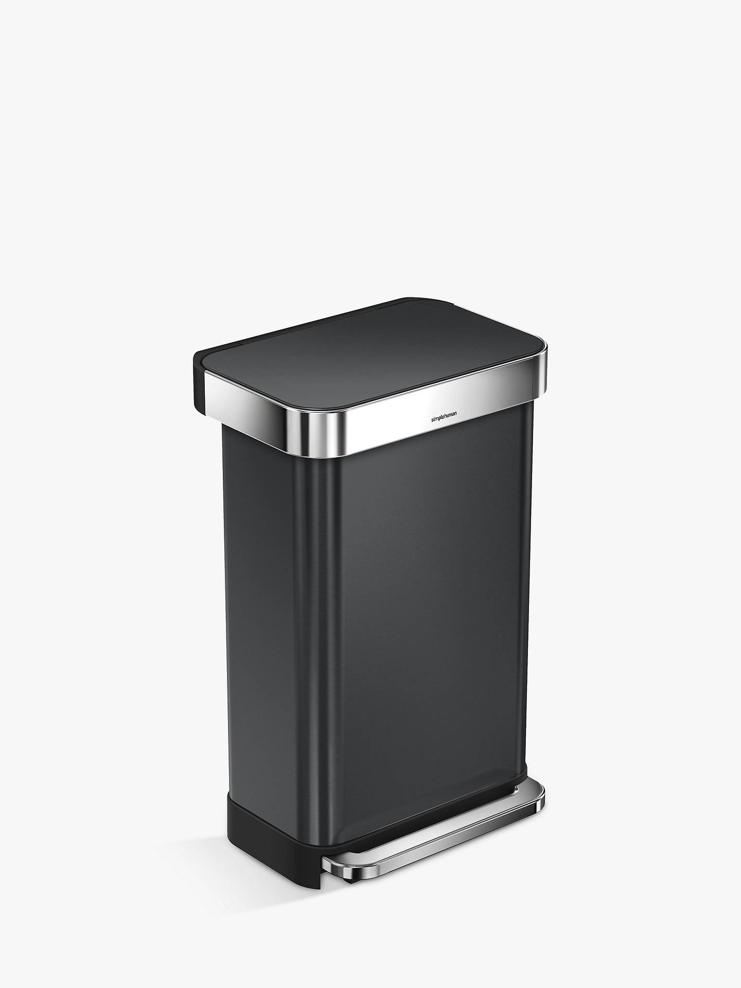 Buy simplehuman Pedal Bin With Liner Pocket, 45L, Black Stainless Steel Online at johnlewis.com