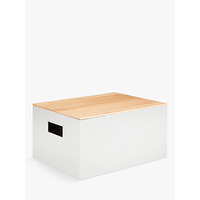 House by John Lewis Rubberwood Box with Lid, Grey