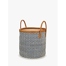 Buy John Lewis Storage Bag with Leather Handle and Trim, Blue Online at johnlewis.com
