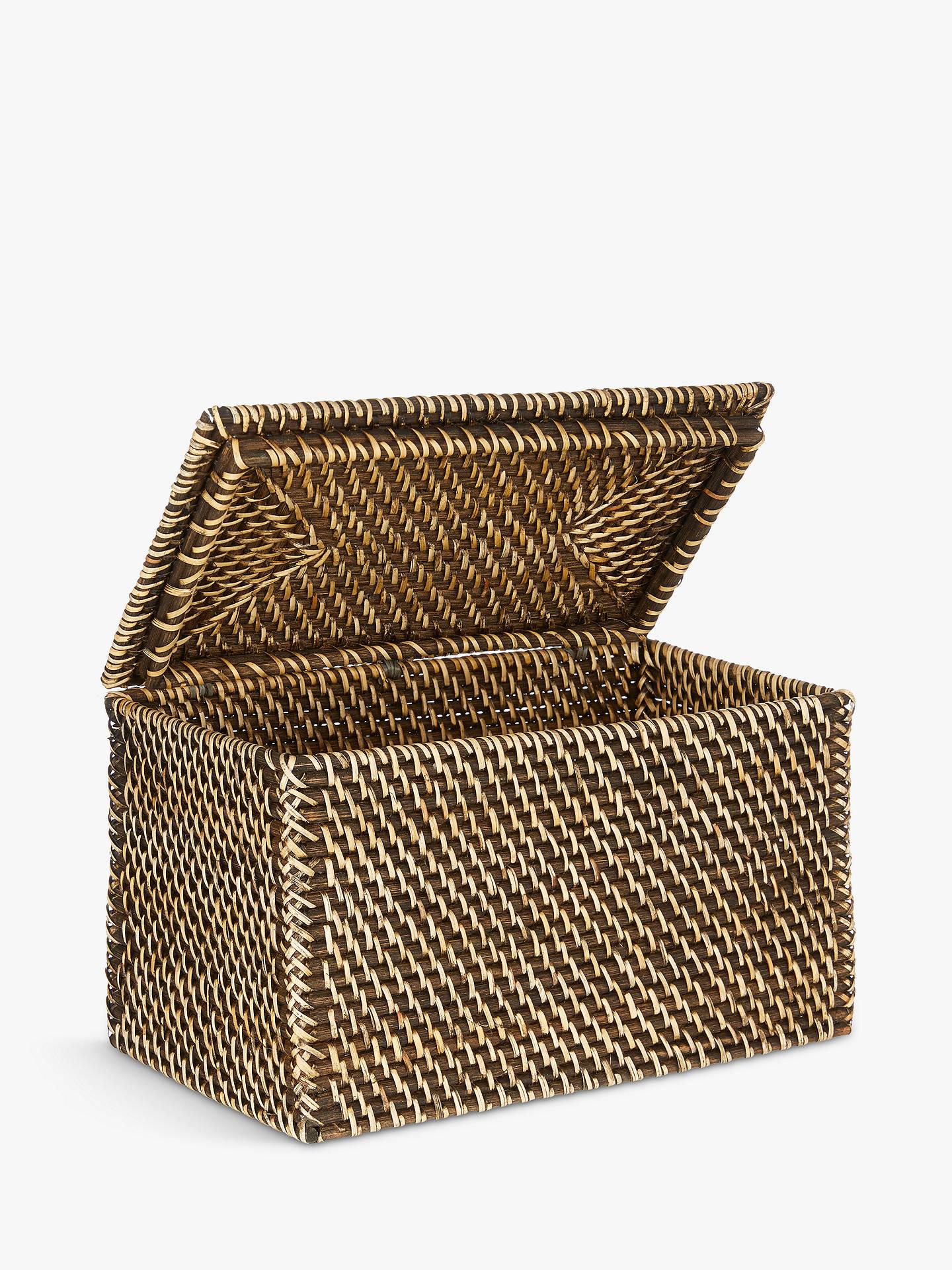 BuyJohn Lewis & Partners Fusion Dark Rattan Lid Basket, Large Online at johnlewis.com