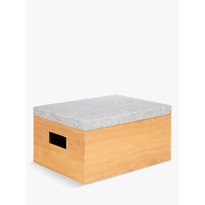 House by John Lewis Rubberwood Box with Felt Lid