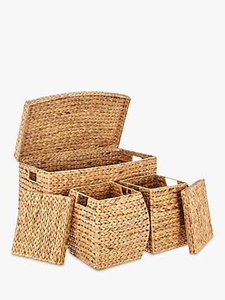 John Lewis & Partners Water Hyacinth Trunks, Natural, Pack of 3