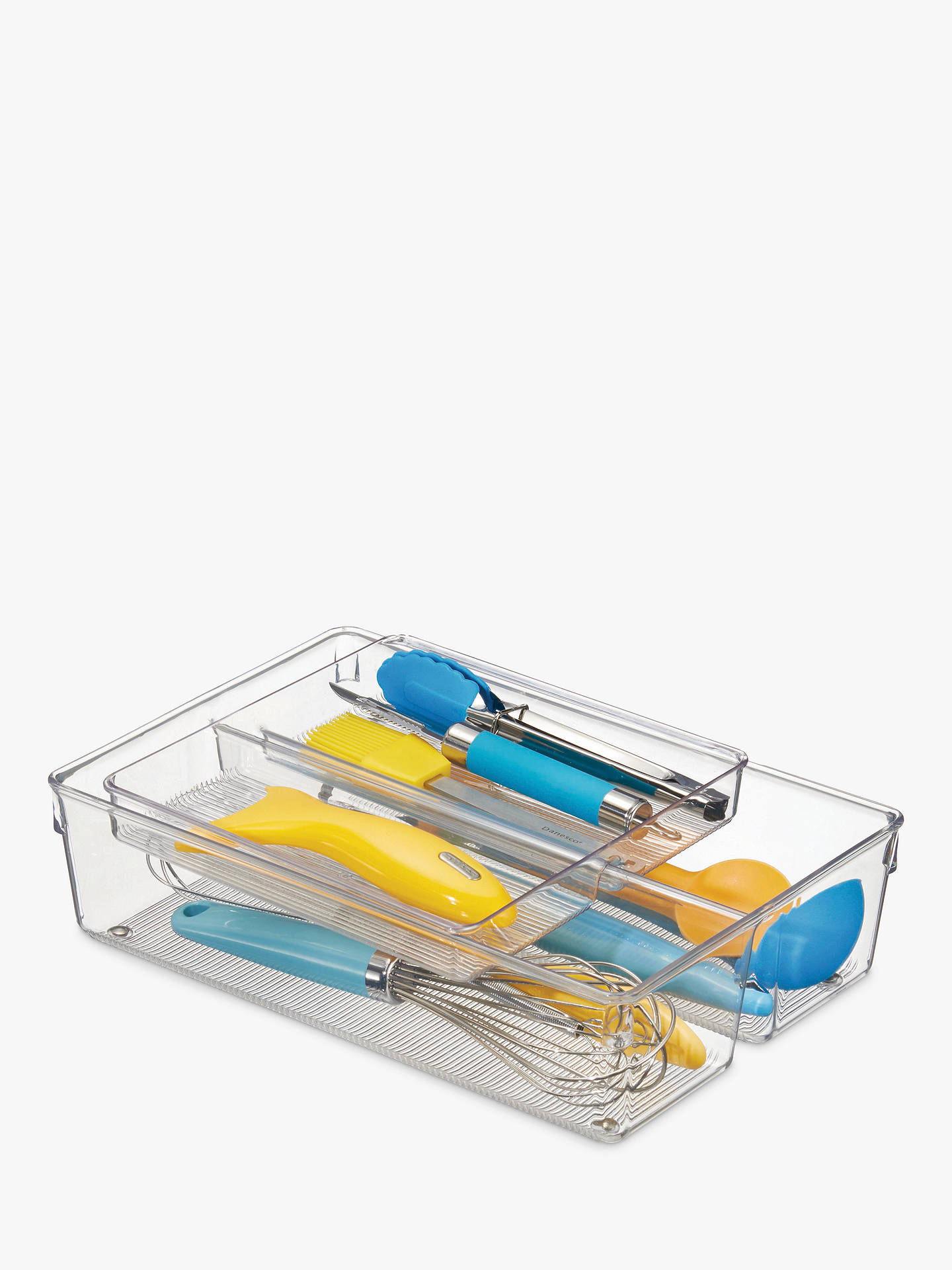 2 Sliding Trays With 2 Compartments Each Clear Cutlery Tray And