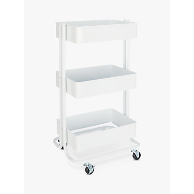 John Lewis 3 Tier Storage Trolley, Silver