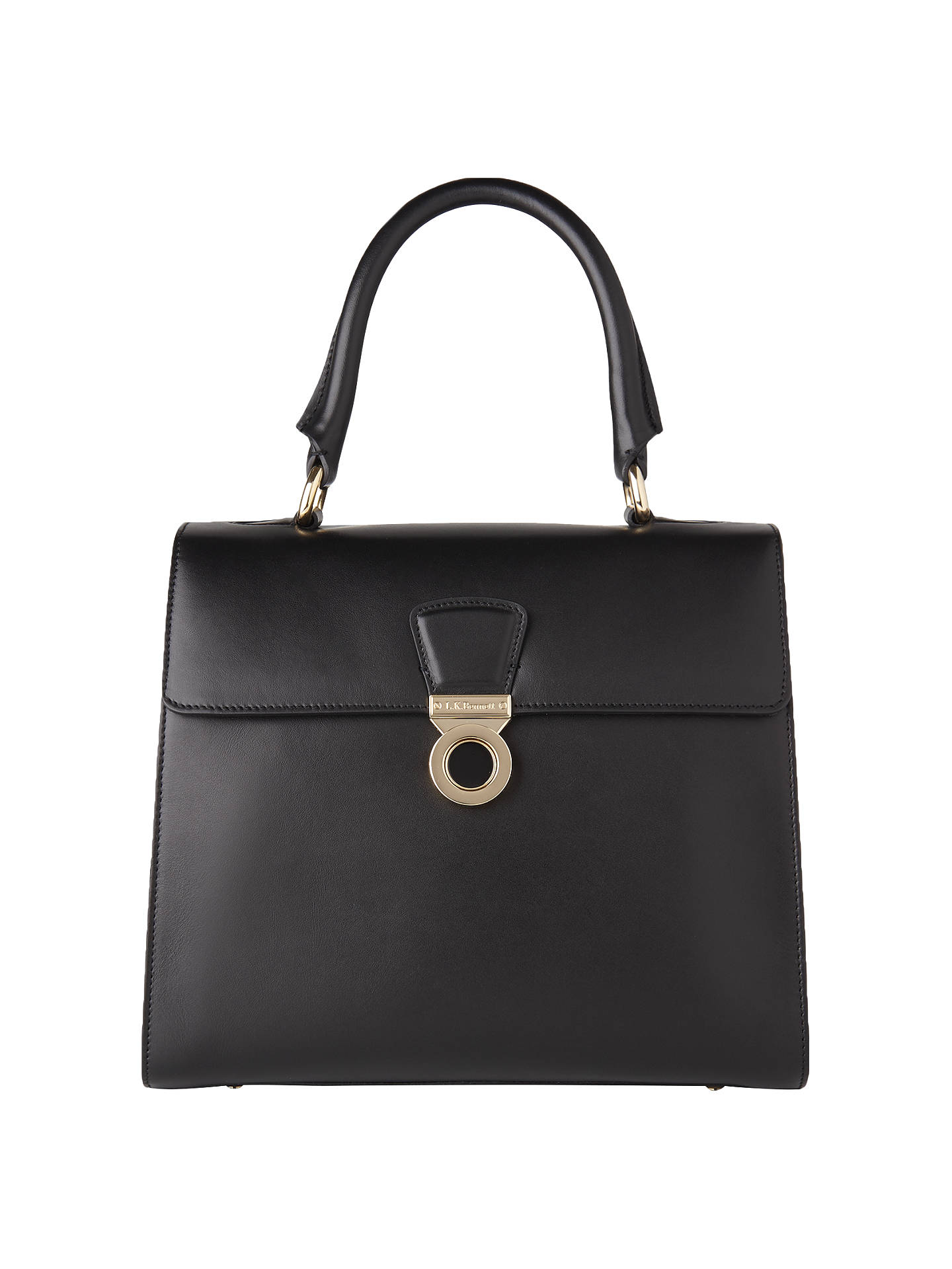K. Bennett Amy Leather Shoulder Bag, Black Online at johnlewis.com ...