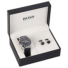 Buy HUGO BOSS 1570054 Men's Day Date Leather Strap Watch and Cufflinks Gift Set, Black Online at johnlewis.com