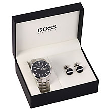 Buy HUGO BOSS 1570057 Men's Day Date Bracelet Strap Watch and Cufflinks Gift Set, Silver/Black Online at johnlewis.com
