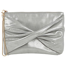 Buy Oasis Tracy Twisted Clutch, Silver Grey Online at johnlewis.com
