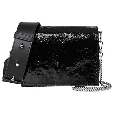 AllSaints Shiny Black Zep Shoulder Bag, Black