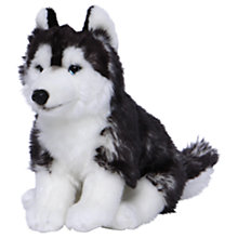 Buy Living Nature Sitting Husky Dog Plush Soft Toy, Black/White Online at johnlewis.com