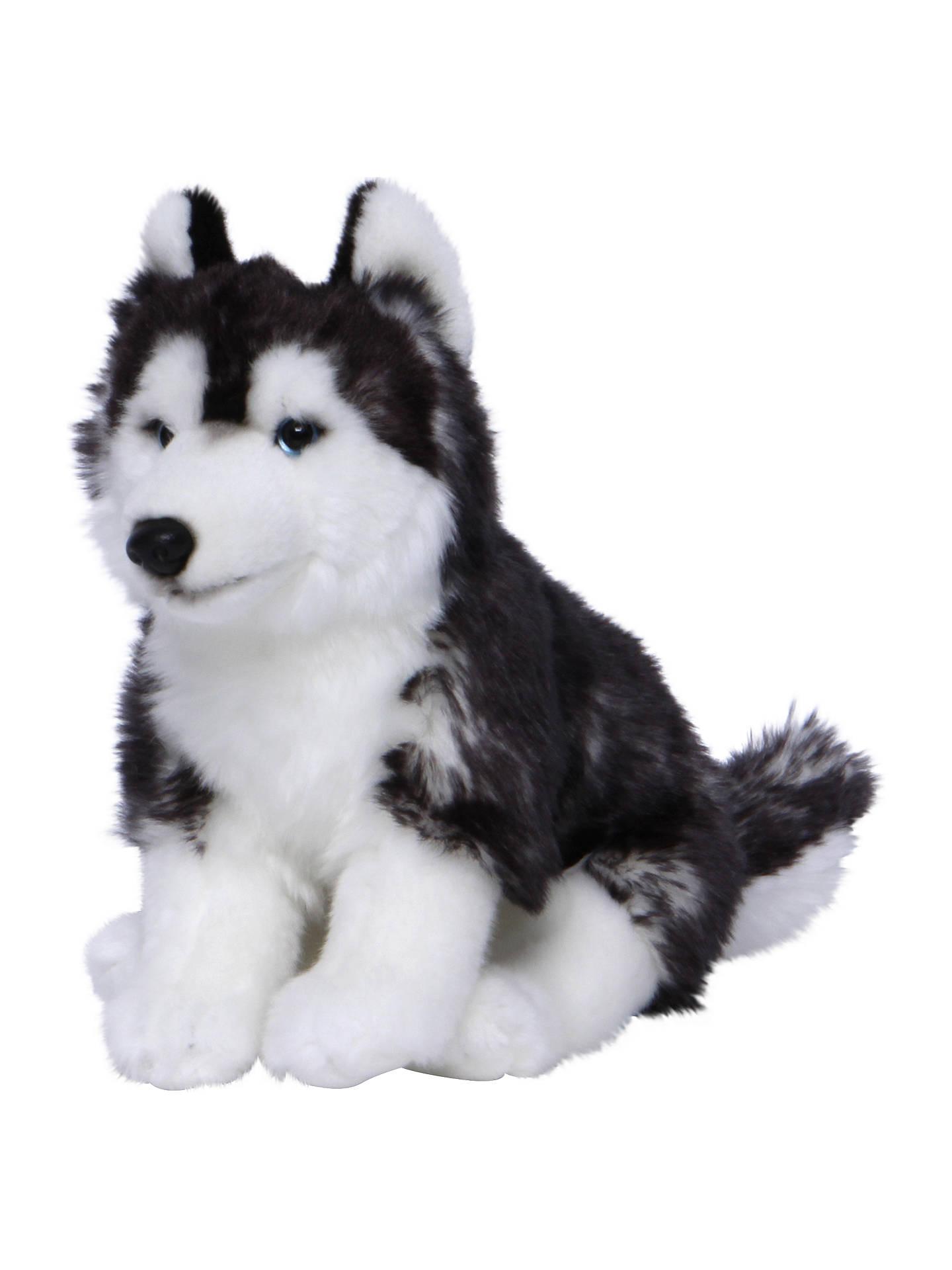 Living Nature Sitting Husky Dog Plush Soft Toy Black White At John