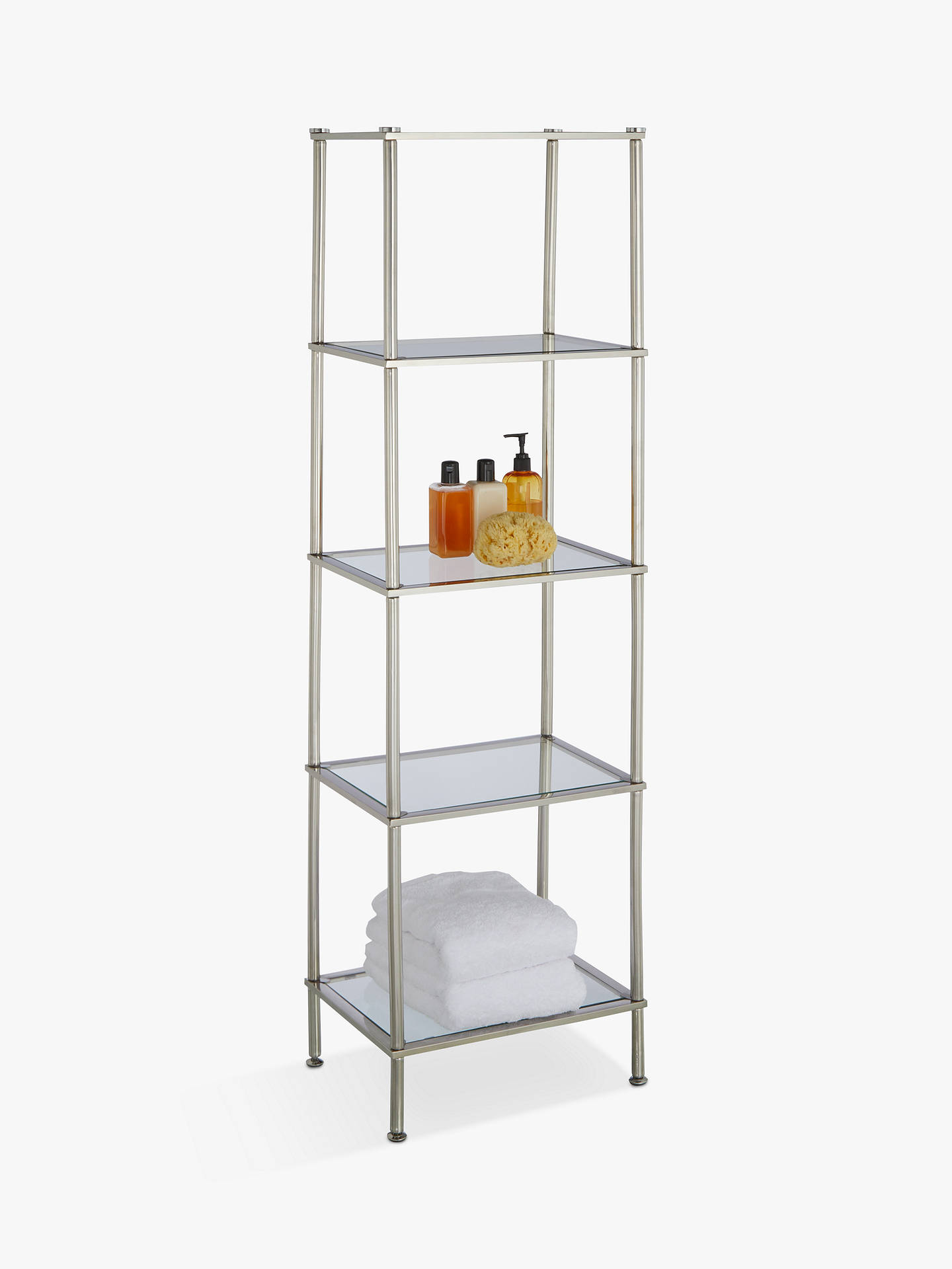 John Lewis Partners 5 Tier Rust Resistant Stainless Steel And Gl Shelving Unit Online At