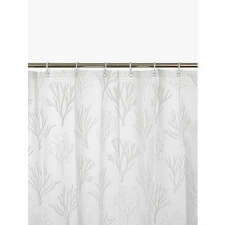 John Lewis Coastal Peva Coral Shower Curtain, White