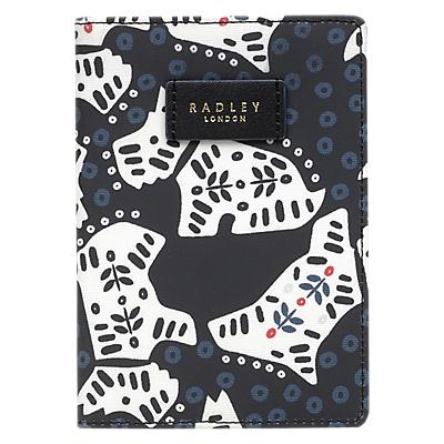 Radley Folk Dog Fabric Passport Cover, Black