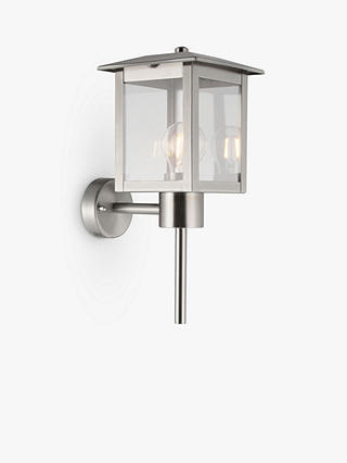 Buy John Lewis & Partners Stowe Coach Lantern Outdoor Wall Light, Chrome Online at johnlewis.com