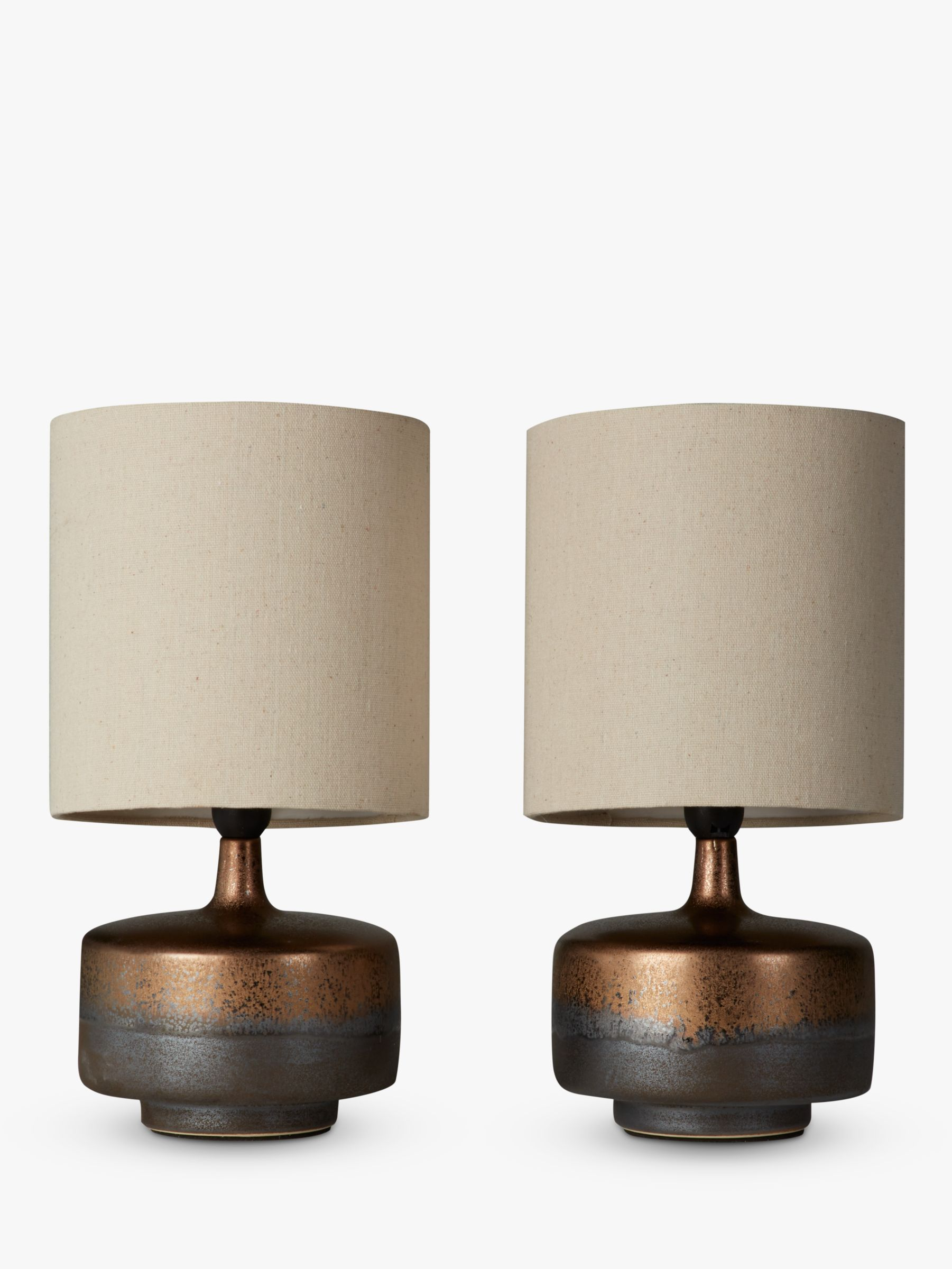 John Lewis & Partners Delaney Metallic Glaze Ceramic Table Lamp, Set of 2