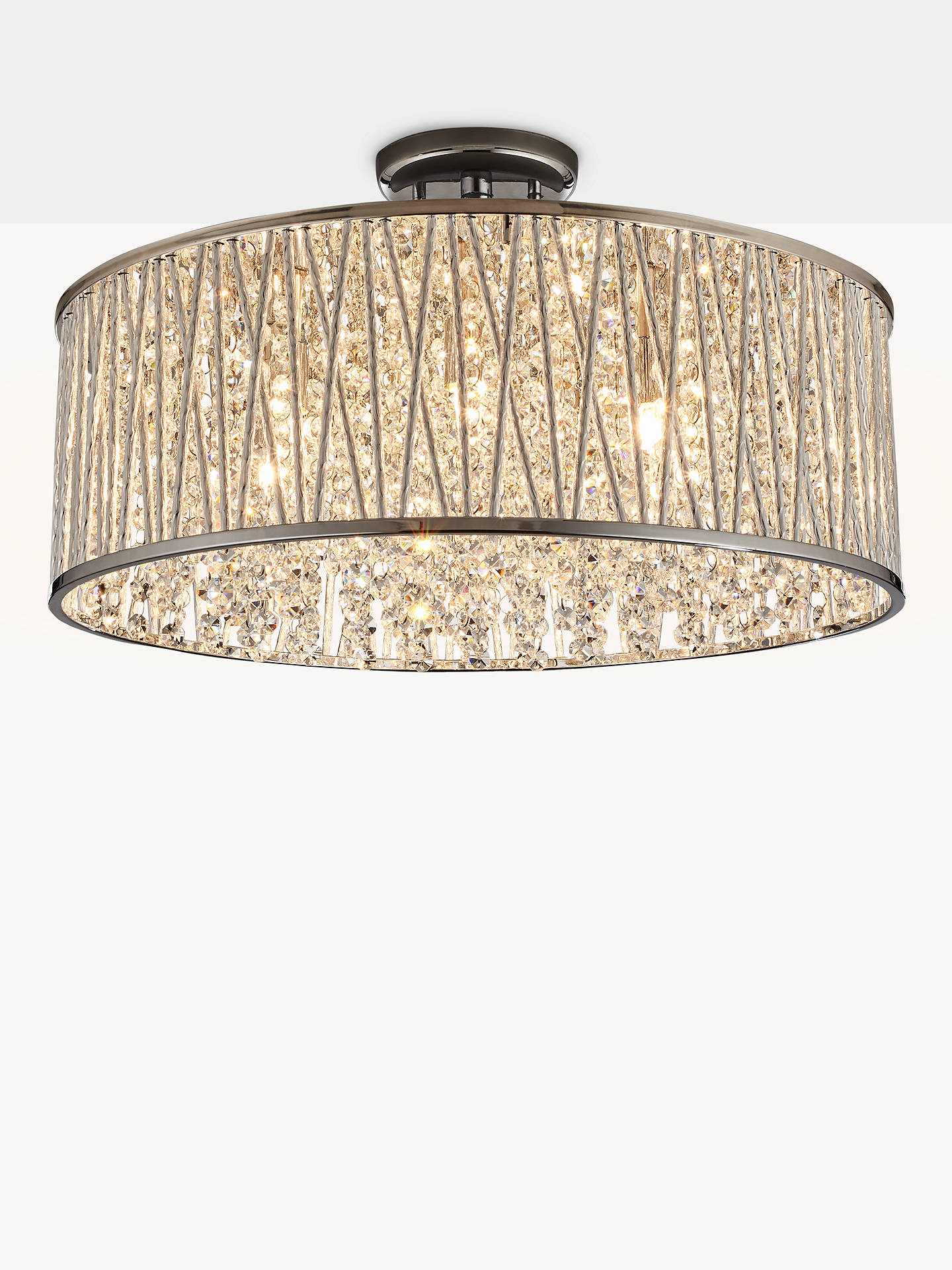 BuyJohn Lewis & Partners Emilia Large Crystal Drum Flush Ceiling Light Online at johnlewis.com