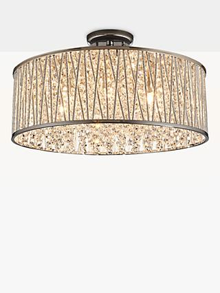 John Lewis & Partners Emilia Large Crystal Drum Flush Ceiling Light