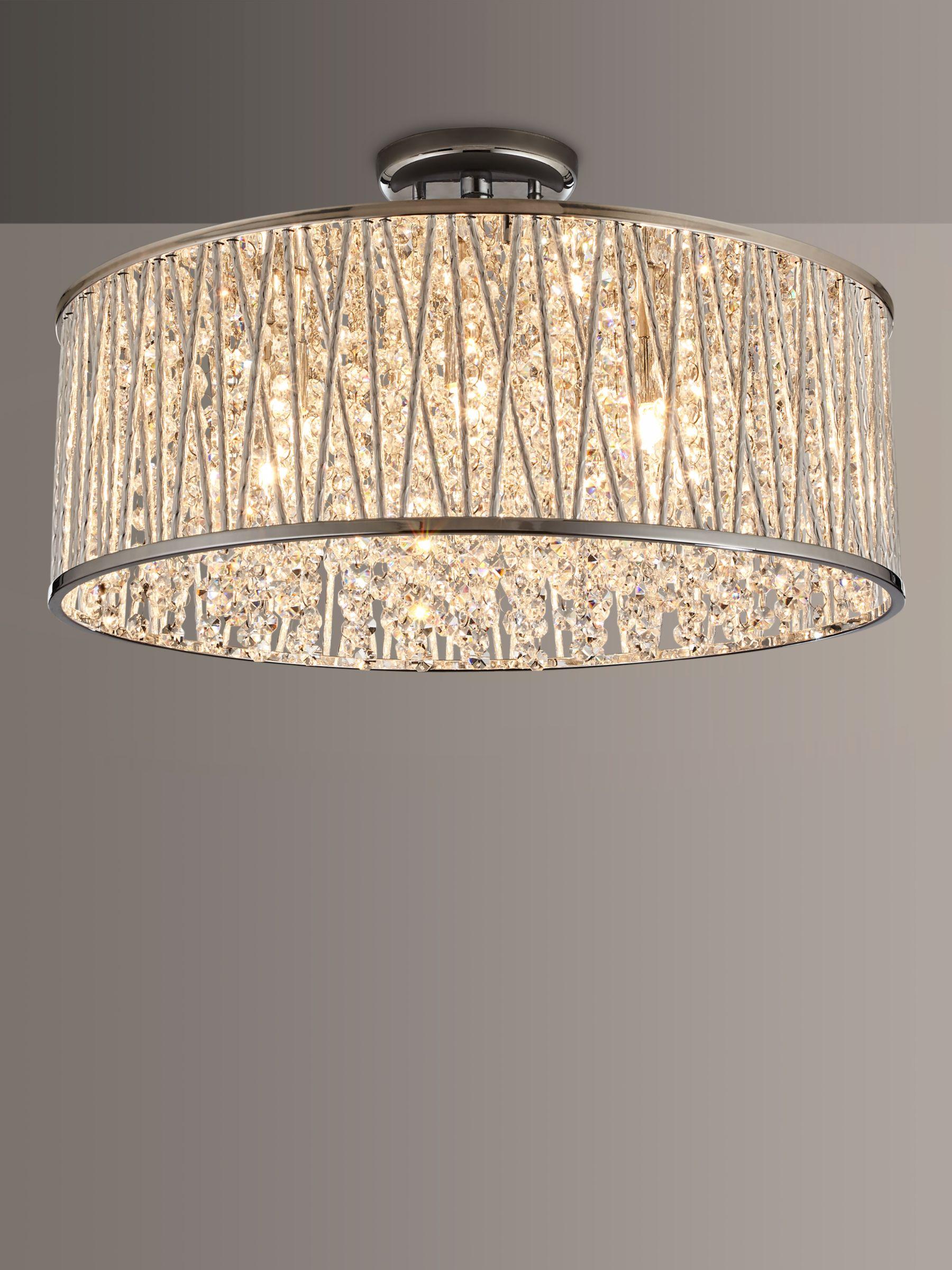John Lewis Partners Emilia Large Crystal Drum Flush Ceiling Light At John Lewis Partners