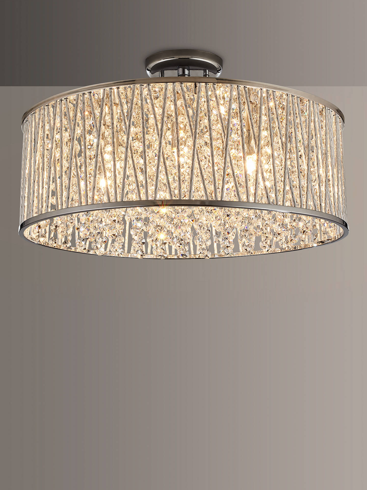 Buy John Lewis & Partners Emilia Large Crystal Drum Flush Ceiling Light Online at johnlewis.com
