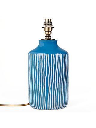 John Lewis & Partners Afra Striped Stoneware Lamp Base, Blue