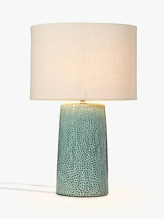 John Lewis & Partners Capelin Tall Dimpled Ceramic Table Lamp, Aqua