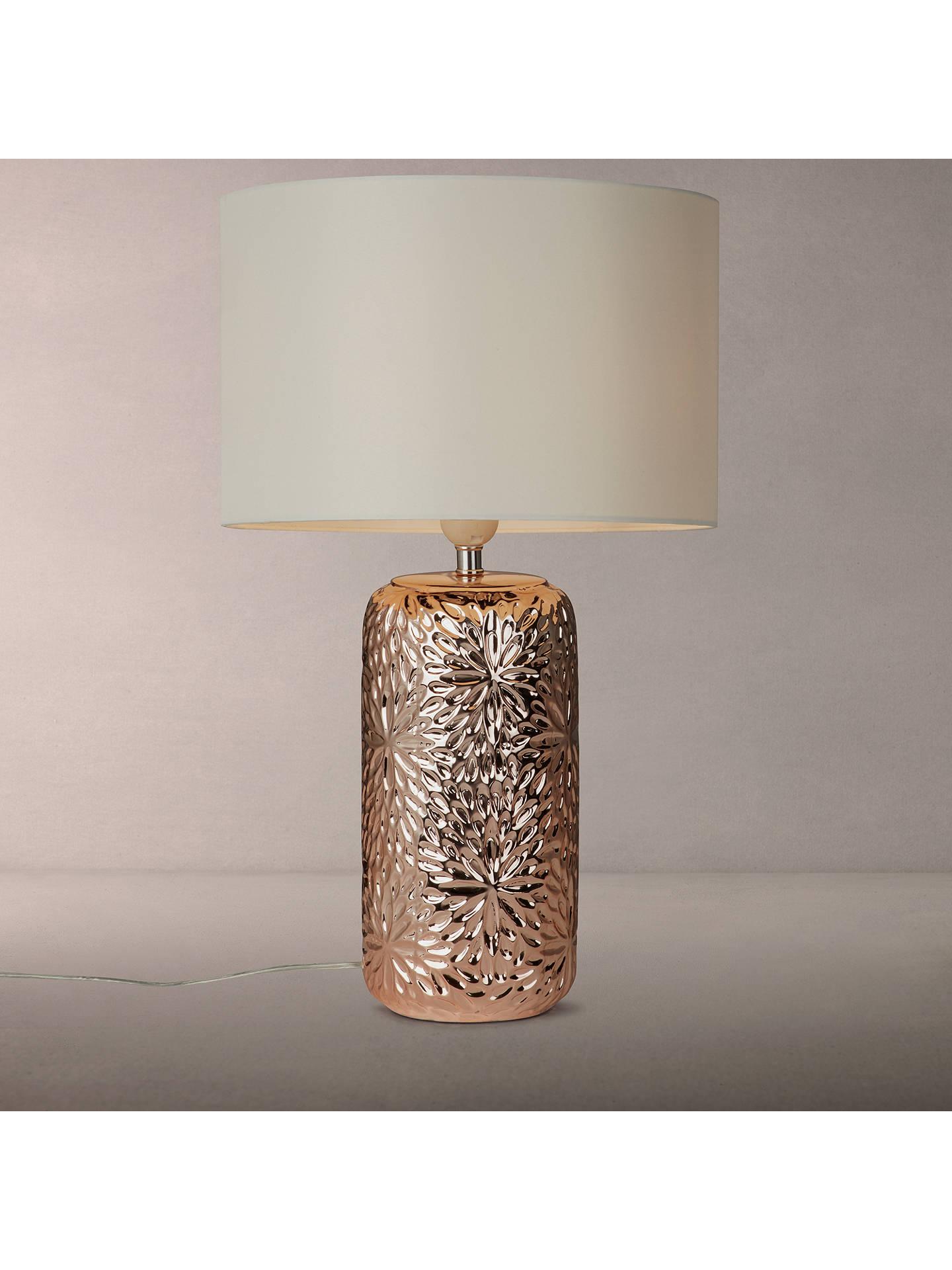 John Lewis Partners Flora Ceramic Table Lamp Rose Gold Online At Johnlewis