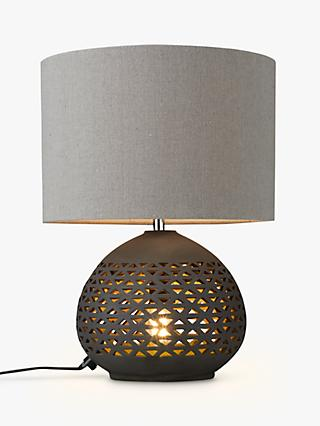 John Lewis & Partners Sabiha Cutwork Dual Lit Table Lamp, Black