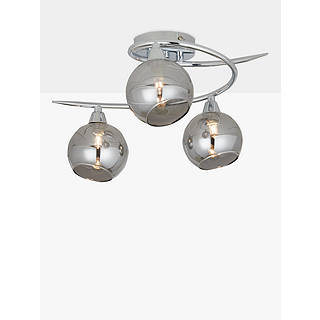 Ceiling lighting furniture lights john lewis john lewis ribbon semi flush 2 arm smoked glass ceiling light chromegrey mozeypictures Images