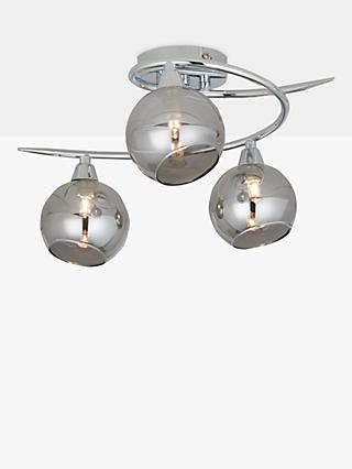 ANYDAY John Lewis & Partners Ribbon Semi Flush, 2 Arm Smoked Glass Ceiling Light, Chrome/Grey