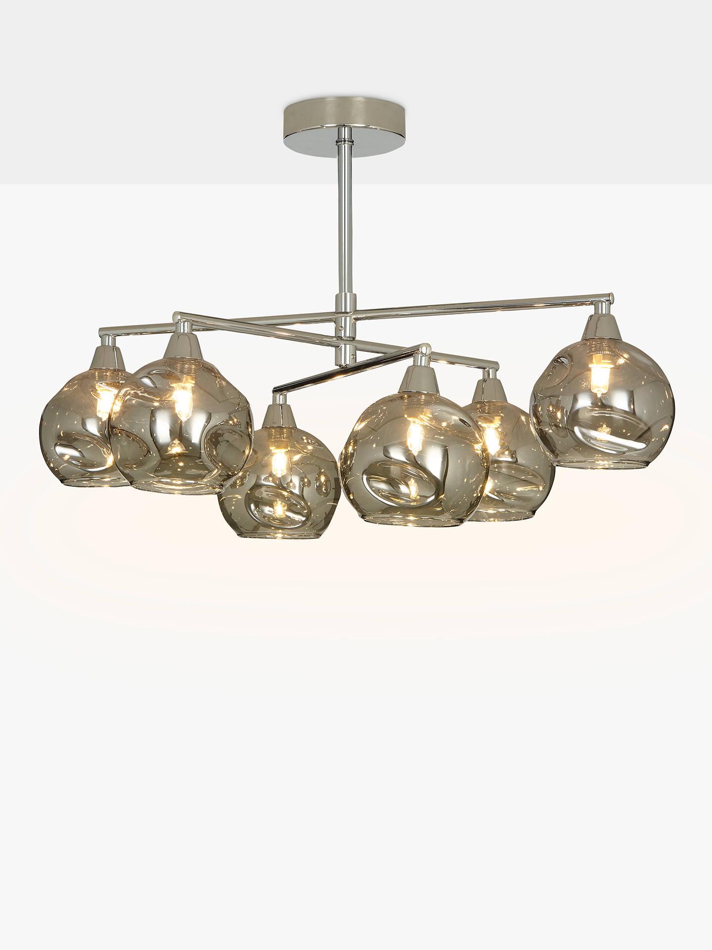 John Lewis Partners Susa Semi Flush 6 Arm Smoked Gl Ceiling Light Chrome
