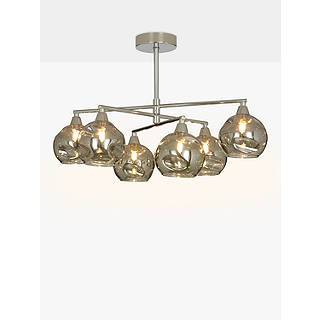 Silver ceiling lighting john lewis john lewis susa semi flush 6 arm smoked glass ceiling light chromegrey mozeypictures Images