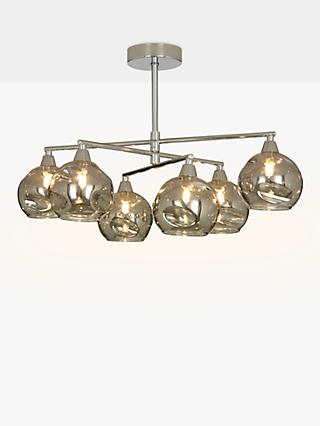 John Lewis & Partners Susa Semi Flush, 6 Arm Smoked Glass Ceiling Light, Chrome/Grey