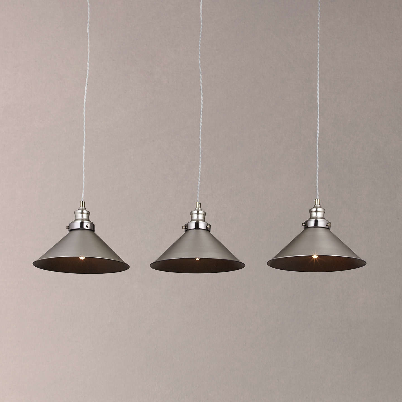 John Lewis Tobias 3 Pendant Diner Ceiling Light, Nickel At