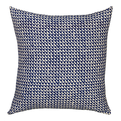 John Lewis Handblock Cushion, Blue