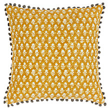 Buy John Lewis Handblock Floral Cushion, Saffron Online at johnlewis.com